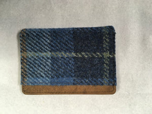 Castlebay blue Harris tweed card holder