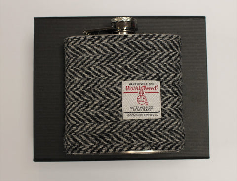 Herringbone Black/White Harris Tweed Hip Flask - 6oz