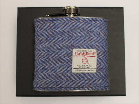 Herringbone Pale Blue Harris Tweed Hip Flask - 6oz