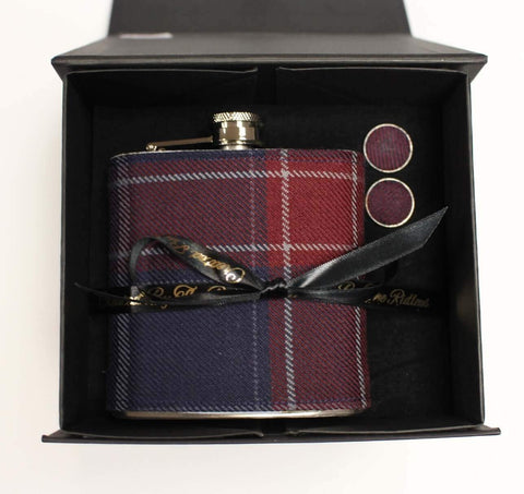 6oz Tartan Hip Flask + Cufflink Set
