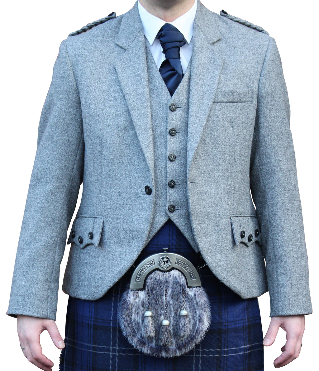 Light Grey Tweed Crail Jacket - Anderson Kilts
