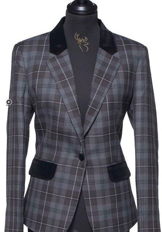 Ladies Tartan Blazer - Grey Granite