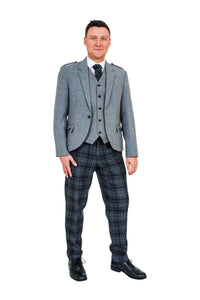Light grey crail jacket with Highland Granite tartan trews - available to hire from Anderson Kilts Dumfries
