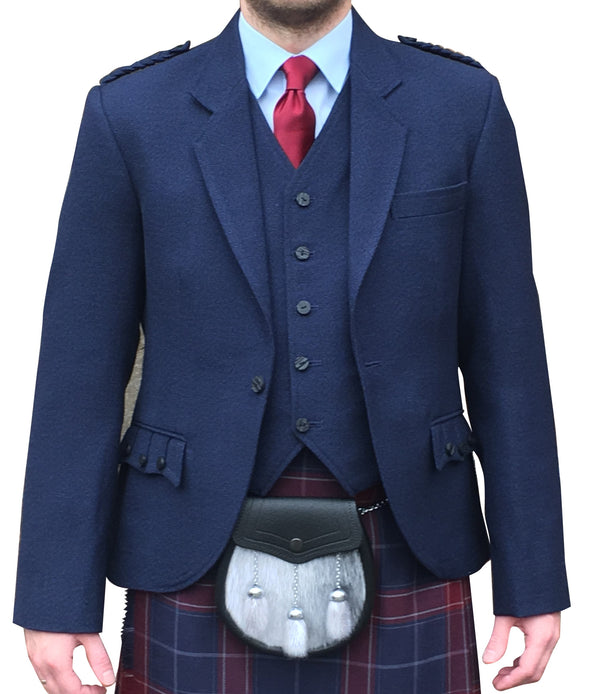 Navy Tweed Crail Jacket - Anderson Kilts