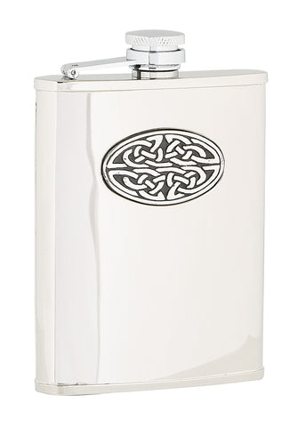 Polished Celtic Sporran Flask - 6oz