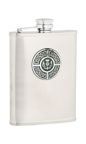 Antique Celtic Thistle Sporran Flask - 6oz