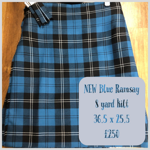 New 8 yard blue Ramsay kilt plus tartan flashes 36.5 waist by 25.5 length