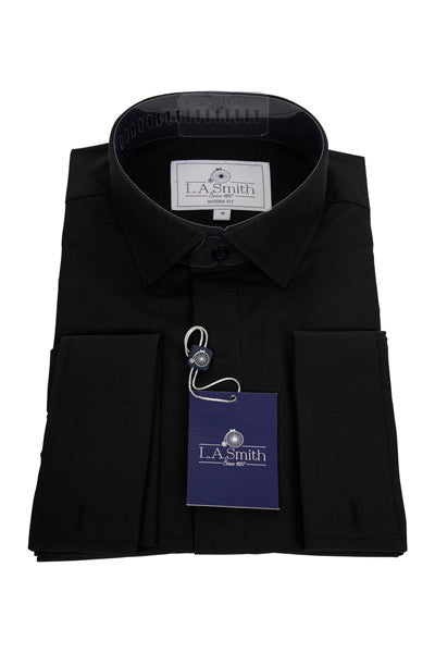 Mens Black Standard Collar Shirt
