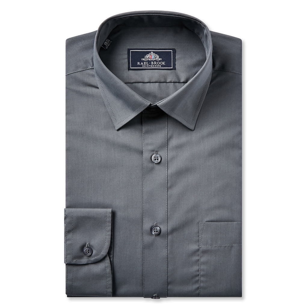 Boys Grey Standard Collar Shirt