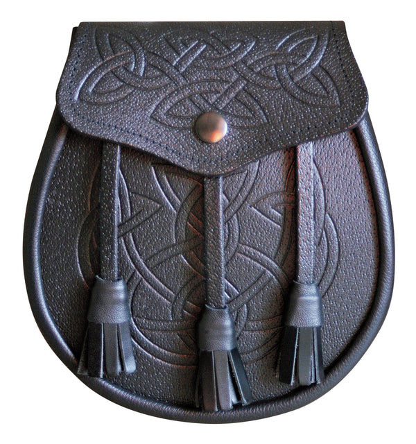 Celtic Patterned Black Leather Day Sporran - Anderson Kilts