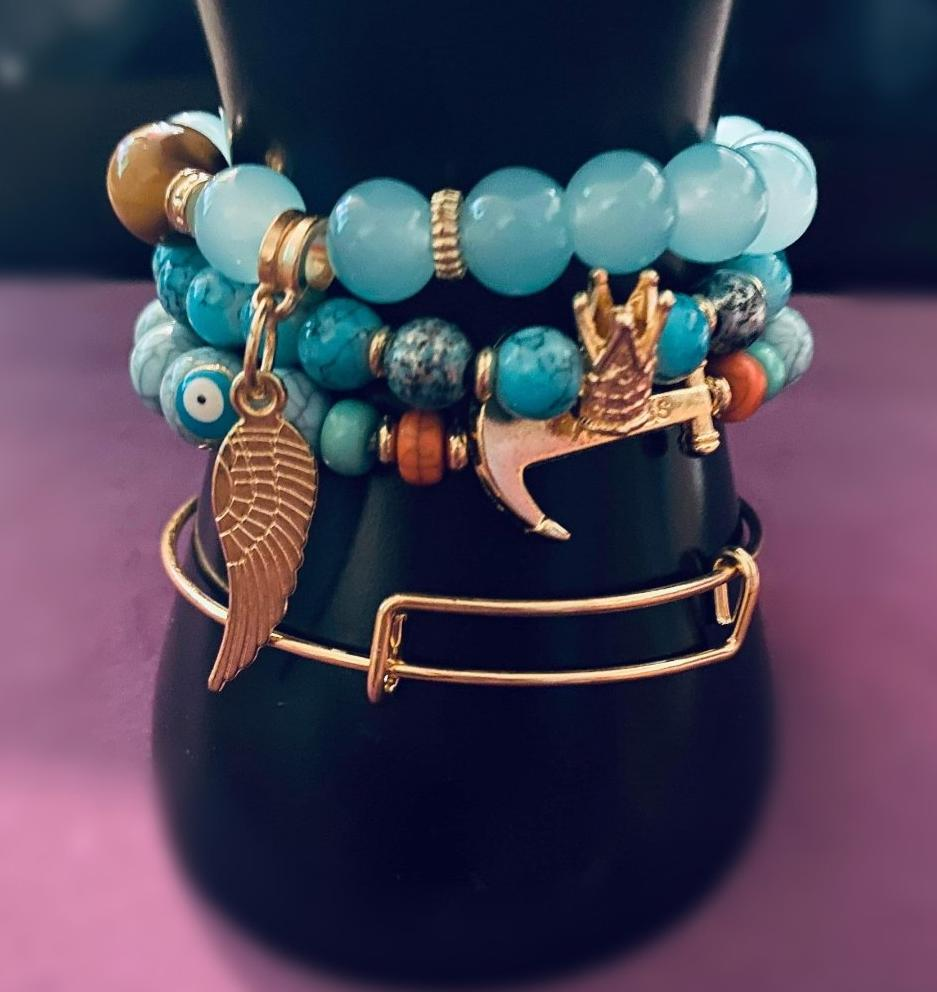 'Water Vibes' blue & Gold Stylish Bracelet
