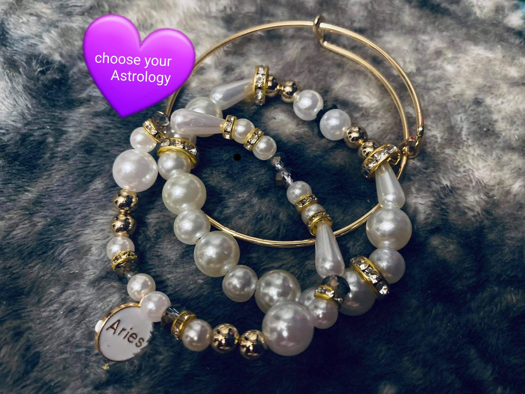 ASTROLOGY BEADED WHITE/GOLD BANGLES