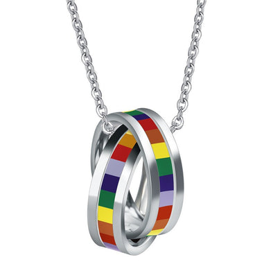 Pride Rainbow Colors Two Rings Necklace