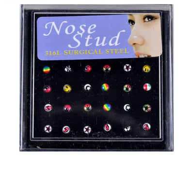 24Pcs/Set Nose Ring Fashion Body Jewelry Nose Studs