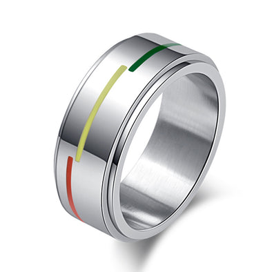 Pride Rainbow Rotatable Thin Line Unisex Ring