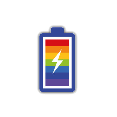 Pride Rainbow Battery Car Sticker