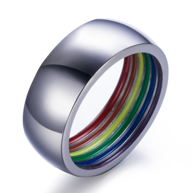 Inside Pride Rainbow Masculine Engagement Ring /  Wedding Band