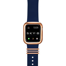 Load image into Gallery viewer, London Band Charms & Minimalist Apple Watch Case - Rose Gold (Navy Band)