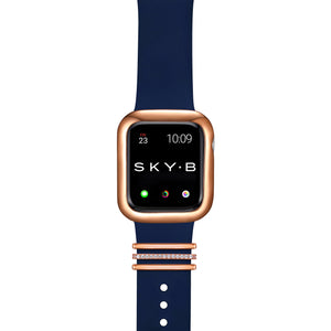 London Band Charms & Minimalist Apple Watch Case - Rose Gold (Navy Band)