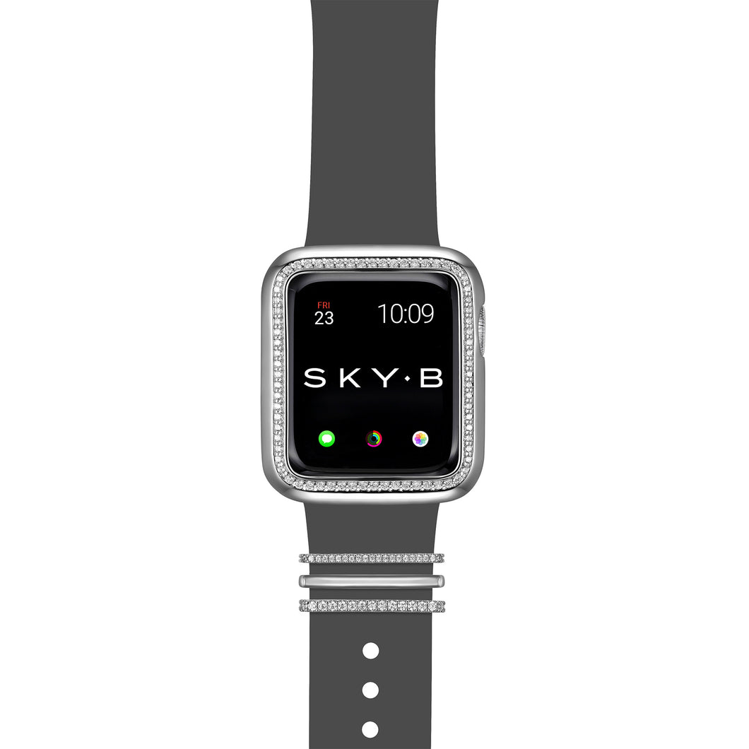 Milan Band Charms & Halo Apple Watch Case - Silver (Gray Band)