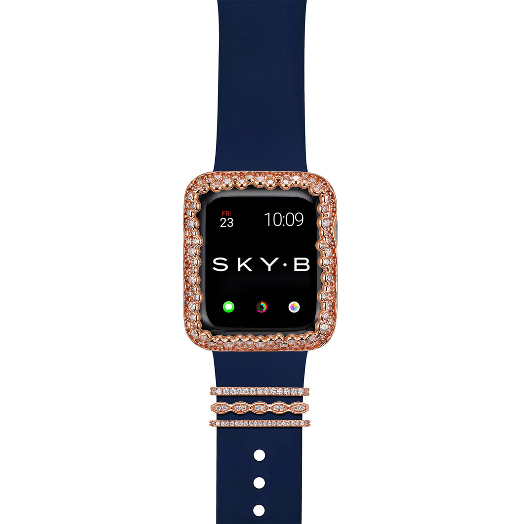 Paris Band Charms & Champagne Bubbles Apple Watch Case - Rose Gold (Navy Band)