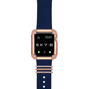 Venice Band Charms & Pavé Corners Apple Watch Case - Rose Gold