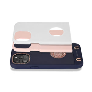 Regal iPhone Case with removable Carry Strap and Pouch - Navy / White / Pink