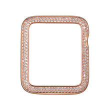 Load image into Gallery viewer, Face view Rose Gold Double Halo Apple Watch Case jewelry