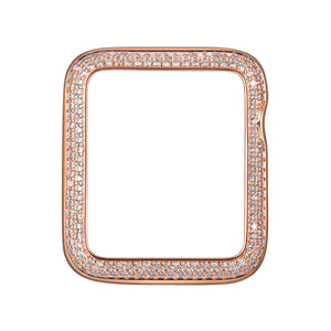 Face view Rose Gold Double Halo Apple Watch Case jewelry