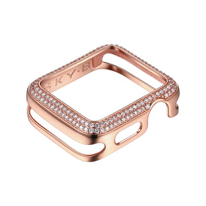 Front View Rose Gold Double Halo Apple Watch Case jewelry