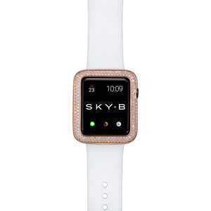 Top View Rose Gold Double Halo Apple Watch Case