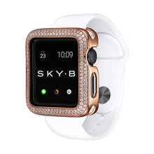 Load image into Gallery viewer, Rose Gold Double Halo Apple Watch Case jewelry for Women