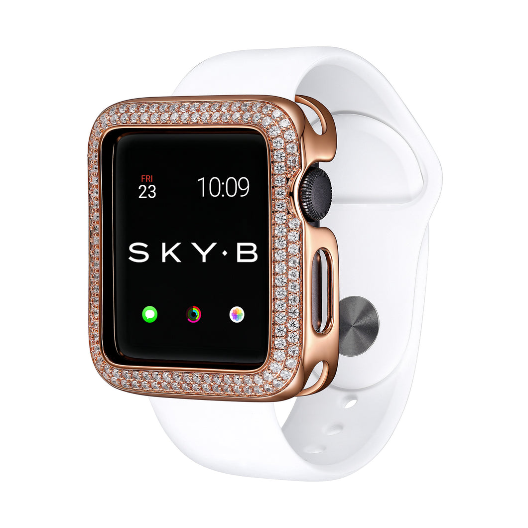 Rose Gold Double Halo Apple Watch Case jewelry for Women