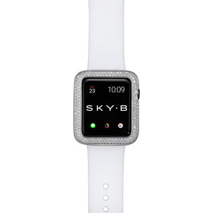 Top View Silver Double Halo Apple Watch Case