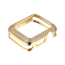 Load image into Gallery viewer, Front View Gold Double Halo Apple Watch Case jewelry