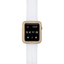 Load image into Gallery viewer, Top View Gold Double Halo Apple Watch Case
