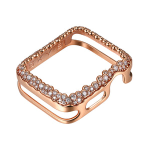 Front View Rose Gold Champagne Bubbles Apple Watch Case jewelry