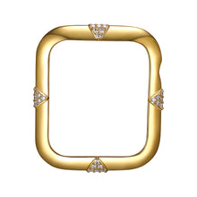 Load image into Gallery viewer, Face view Gold Pavé Points Apple Watch Case jewelry