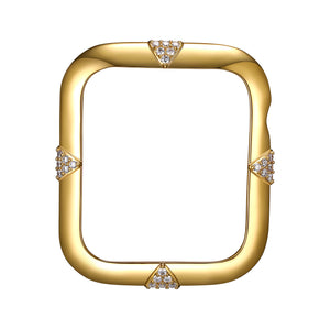 Face view Gold Pavé Points Apple Watch Case jewelry