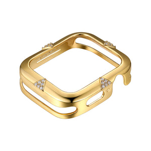Front View Gold Pavé Points Apple Watch Case jewelry