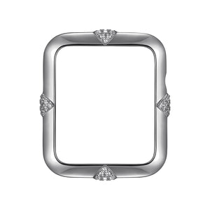 Face view Silver Pavé Points Apple Watch Case jewelry
