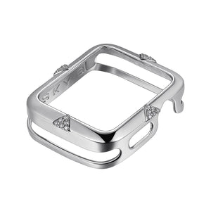 Front View Silver pavé Points Apple Watch Case jewelry