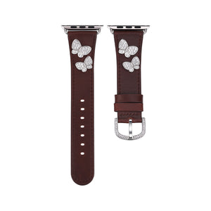 Butterfly Leather Apple Watch Strap - Brown Leather & Rhodium