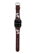 Load image into Gallery viewer, Butterfly Leather Apple Watch Strap - Brown Leather & Rhodium