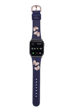 Load image into Gallery viewer, Butterfly Leather Apple Watch Strap - Navy Leather & Rose Gold