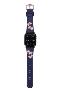 Butterfly Leather Apple Watch Strap - Navy Leather & Rose Gold