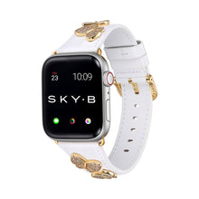 Load image into Gallery viewer, Butterfly Leather Apple Watch Strap - White Leather & Gold