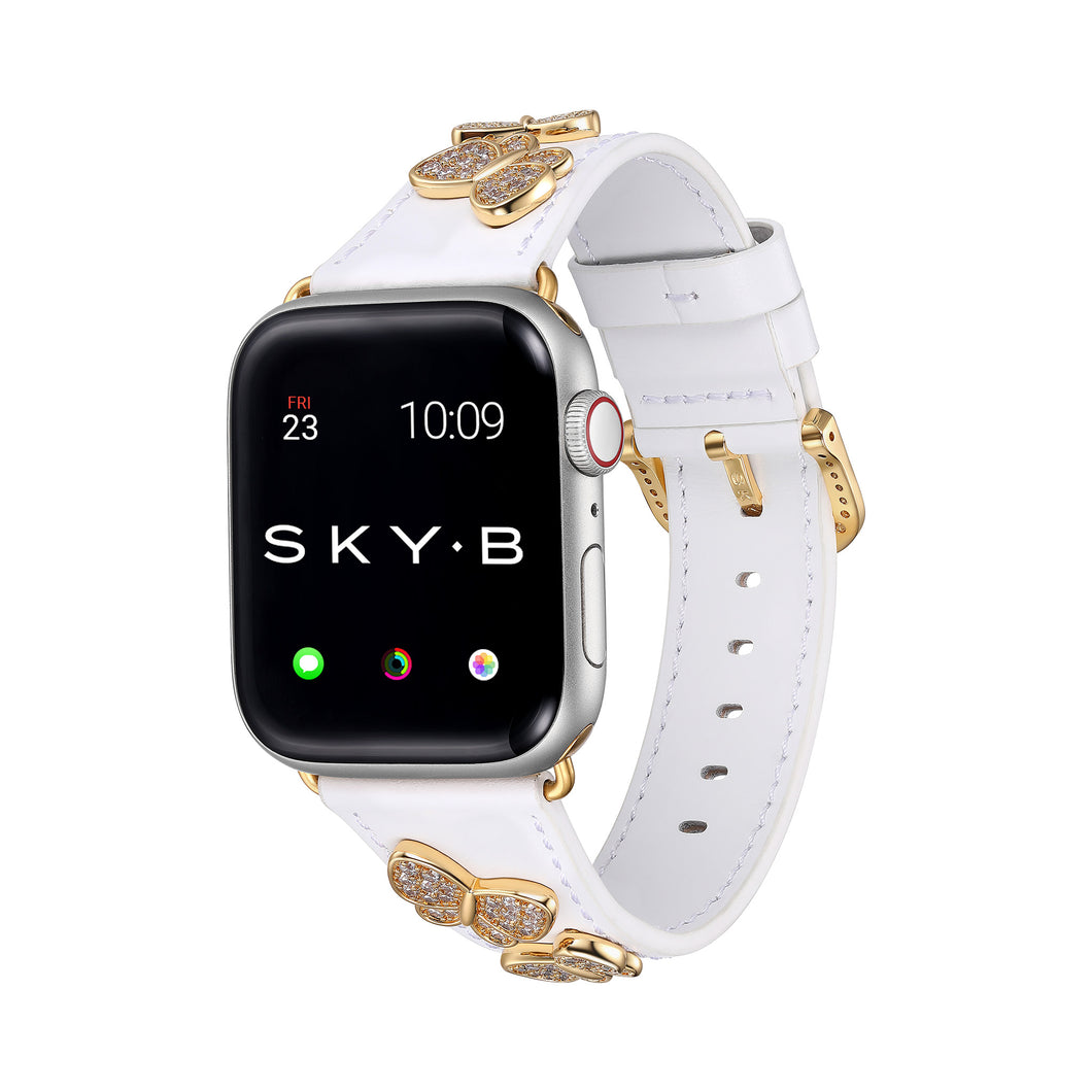 Butterfly Leather Apple Watch Strap - White Leather & Gold