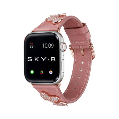 Butterfly Leather Apple Watch Strap - Peach Leather & Rose Gold