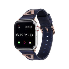 Load image into Gallery viewer, Chevron Leather Apple Watch Strap - Navy Leather & Rose Gold
